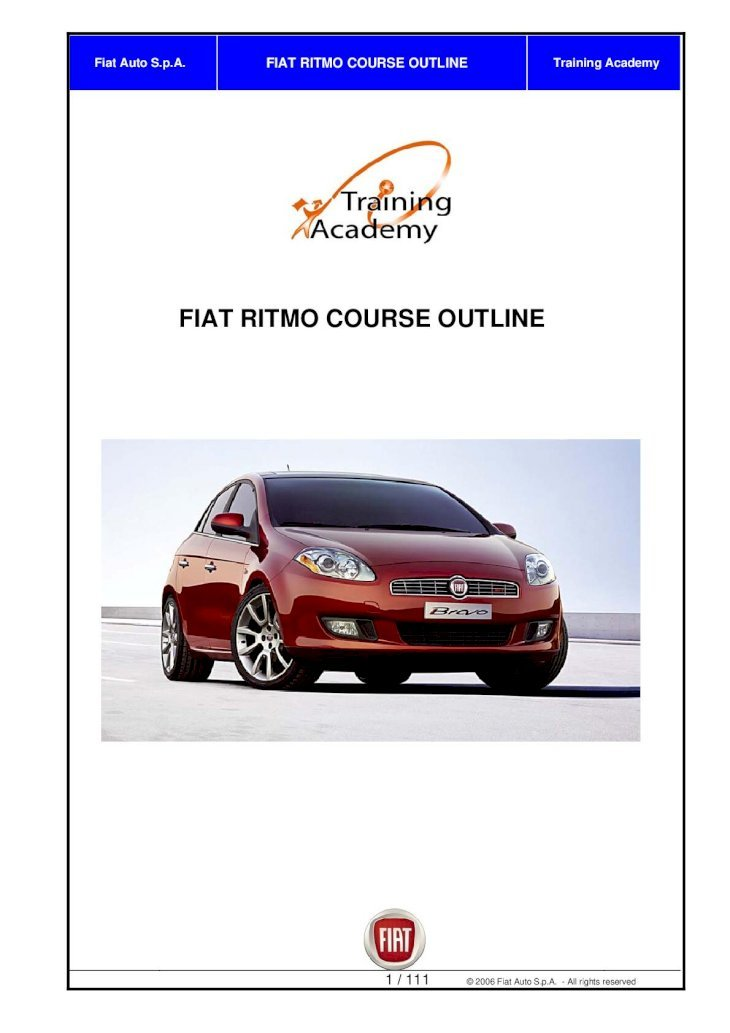 Fiat Ritmo Course Outline